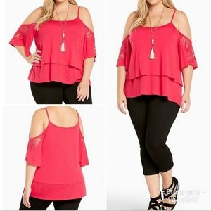Torrid Lace Trim Cold Shoulder Top Size 2 Fuschia